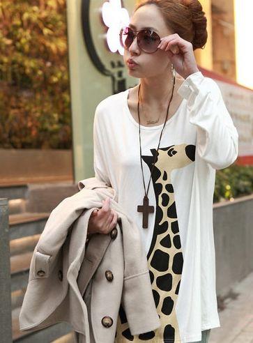 Модная Женская Футболка с Жирафом