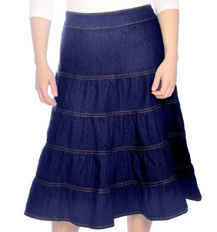 modest tiered denim skirt color stonewashed blue