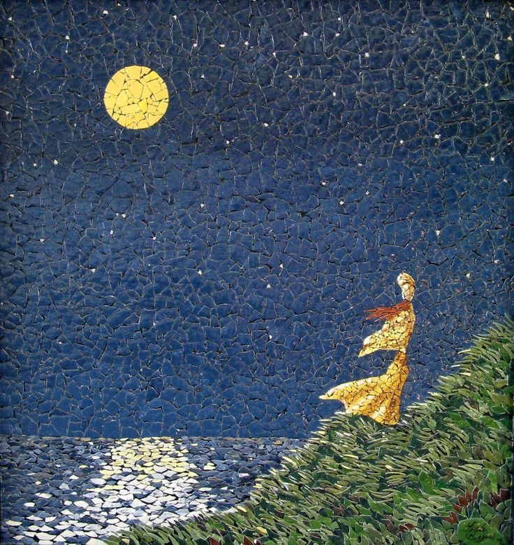 Nightwatch mosaic by linda biggers mosaics landscape for Egg mosaic design