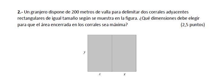 Ejercicio 2B Julio 2014-2015. Propuesto en examen pau de Canarias. Matemática. Optimización.
