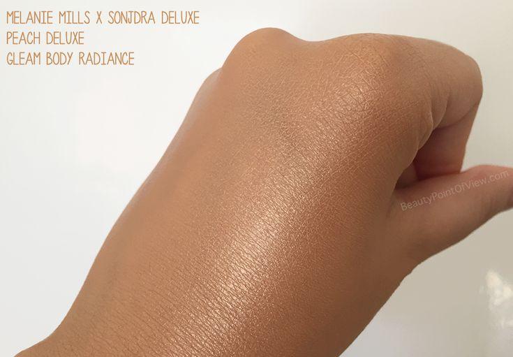 Melanie Mills x Sonjdra Deluxe - Peach Deluxe Gleam Body Radiance #makeup #beauty #review