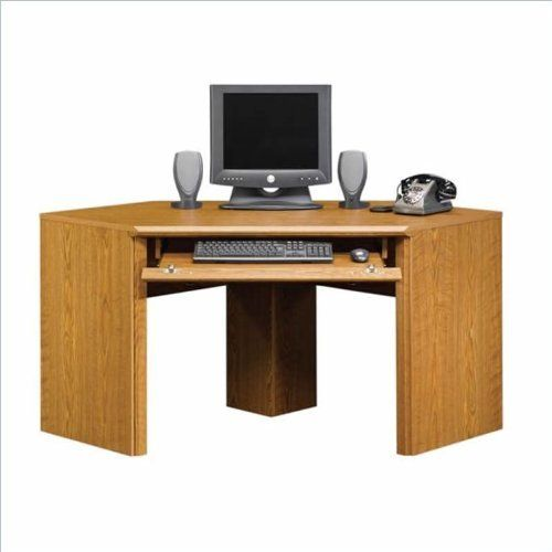 sauder orchard hills small corner wood computer desk in carolina oak by sauder