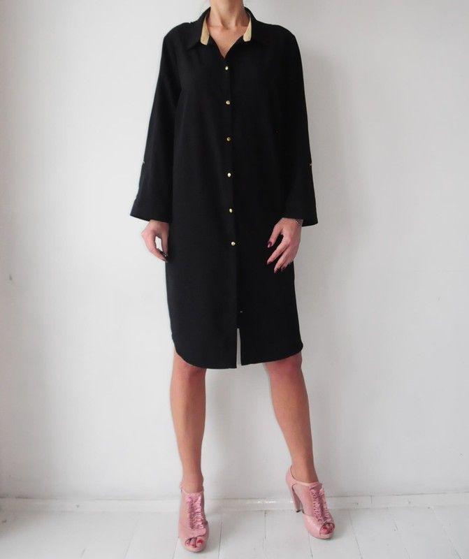 2d6744a2c8 George czarna koszulowa sukienka r. 48 - vinted.pl