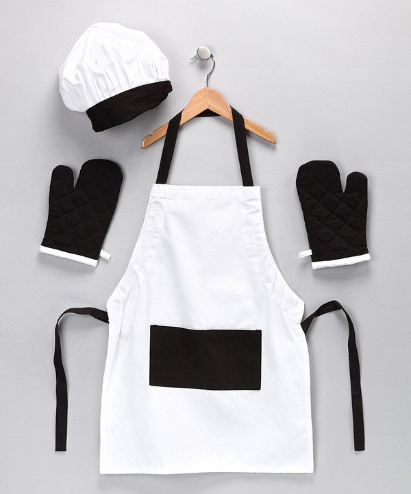 Take a look at this Black & White Apron Set on zulily today!