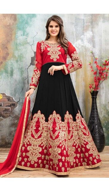 Black And Red Faux Georgette Anarkali Churidar Suit With Dupatta - DMV14792