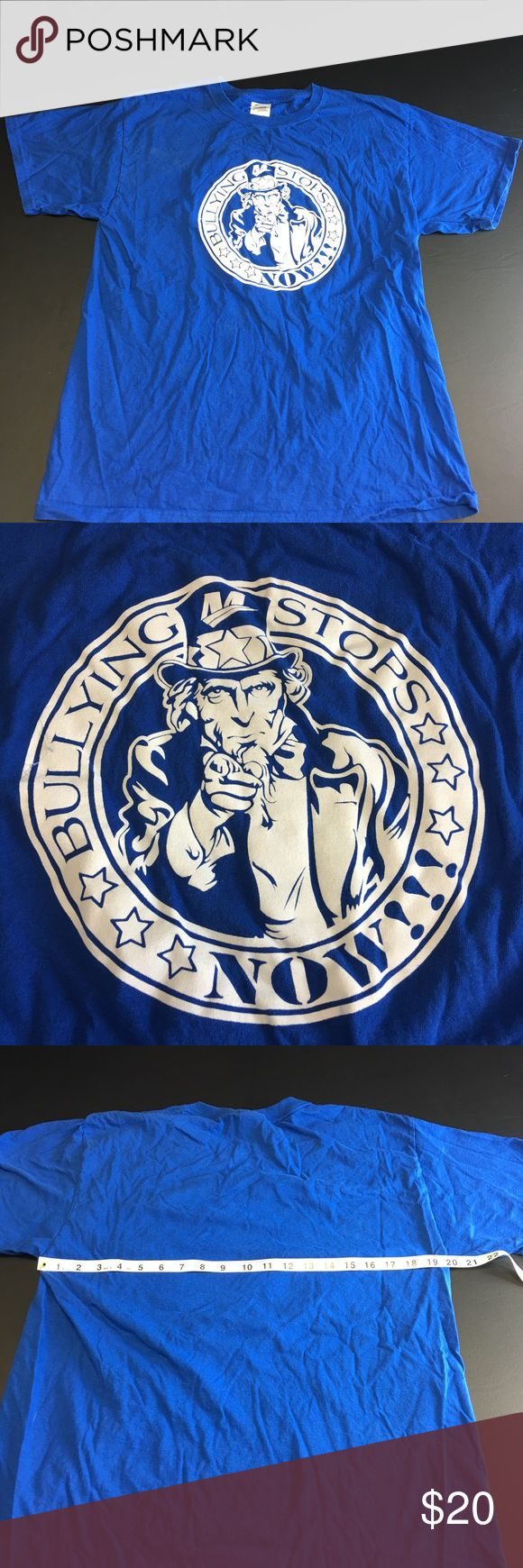 Vintage Uncle Sam Stop Bullying Now Men's Large T Vintage Blue Uncle Sam Stop Bullying Now Men's Large Teeshirt. Very soft preowned Teeshirt in excellent condition with no major flaws. Measurements are as follows: Pit to Pit Measures 20 Inches and Top to Bottom Measures 28 Inches. Vintage Shirts Tees - Short Sleeve