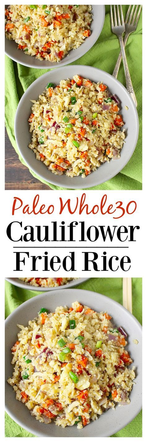 Paleo Cauliflower Fried Rice- a delicious, healthy alternative to the popular…