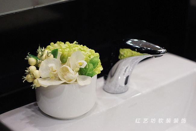 Photo of Taiwan original high simulation flower set decorative flower fresh and elegant white Phalaenopsis hotel bathroom…