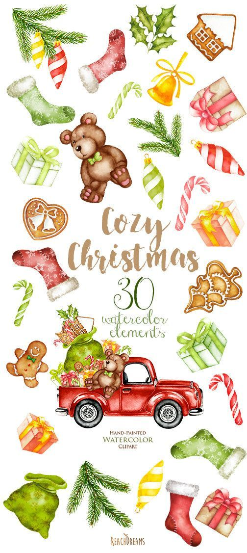 Watercolor Christmas Truck with gifts New Year by ReachDreams