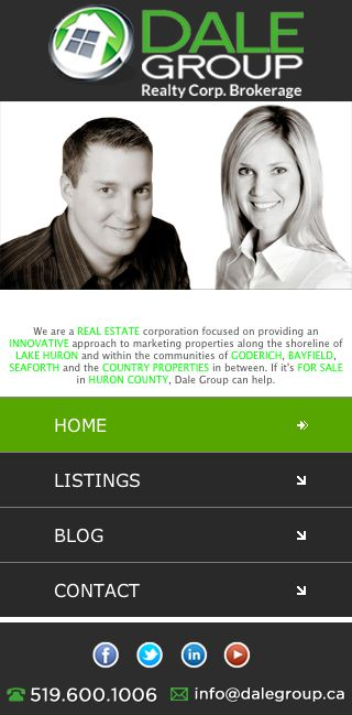 Custom Real Estate mobile website for Dale Group Realty