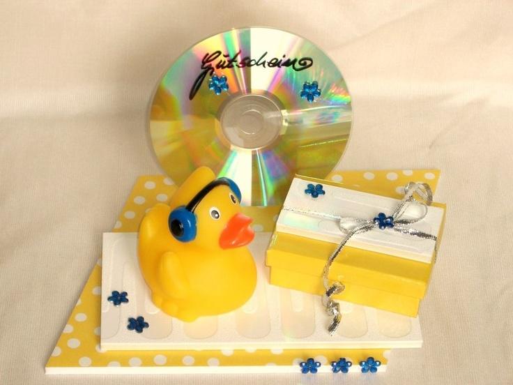 Ein witziges Enten-Interieur zum Verschenken von Geld oder Gutscheinen für Themen wie Musik, CDs, Tanzen, Disco, Konzertbesuche, Kopfhörer, Instrument