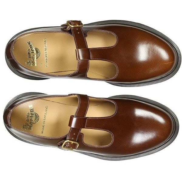 Dr Martens Ladies' MIE Classics Talliah T-Bar Shoe Tan Boanil Brush... (2 985 ZAR) ❤ liked on Polyvore featuring shoes, t bar shoes, dr. martens, dr martens footwear, t strap shoes and dr martens shoes