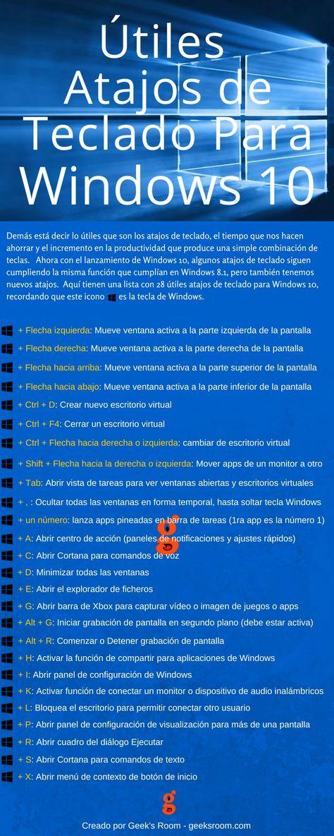 Atajos de teclado para Windows 10 #infografia #infographic #microsoft