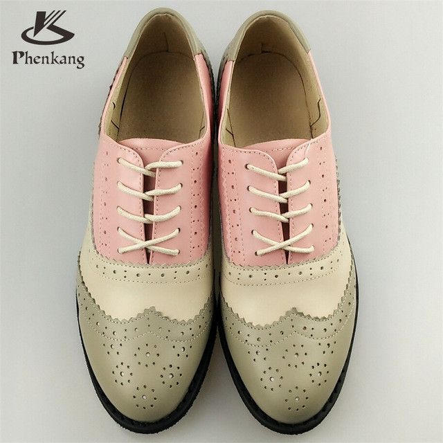 Genuine Leather Big Woman Vintage Flat Shoes Round Toe Handmade White Creepers Oxford Shoes Fur