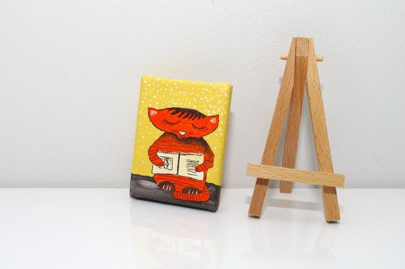 Orange CAT PAINTING - Cat and book tiny canvas - Funny cat art with easel - Orange yellow painting - Funny gift idea for children - Cute nursery decor