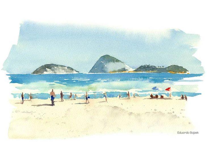 Praia aquarela
