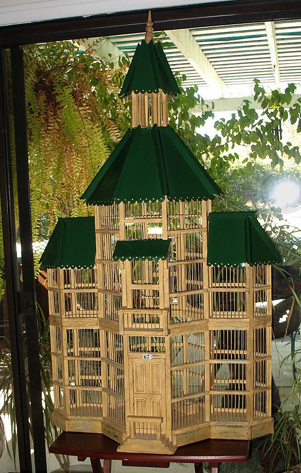 Large Vintage Large Bird Cage Decorative Wood & Wire 2 Story Victorian Cottage Style