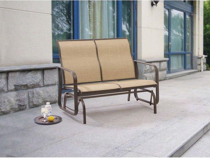 Patio Glider Bench Outdoor Furniture Garden Deck Porch Chair Seat Metal  Backyard #Mainstays