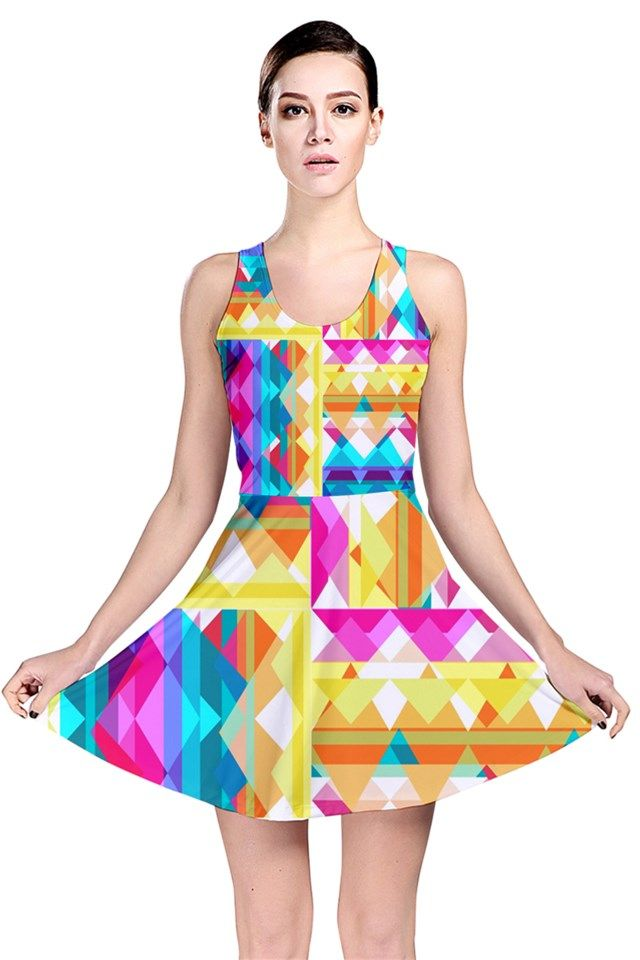 Triangle Checker_MirandaMol Reversible Skater Dress #pinkcess #mirandamol #fashion #cool #dress #summer #pinkcess #pinkcessfashion #pnkx