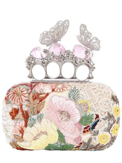 ALEXANDER MCQUEEN - EMBROIDERED BUTTERFLY KNUCKLEBOX CLUTCH - Alexander Mcqueen
