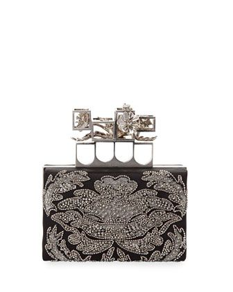 Embellished Satin Box Clutch Bag, Black by Alexander McQueen at Neiman Marcus.