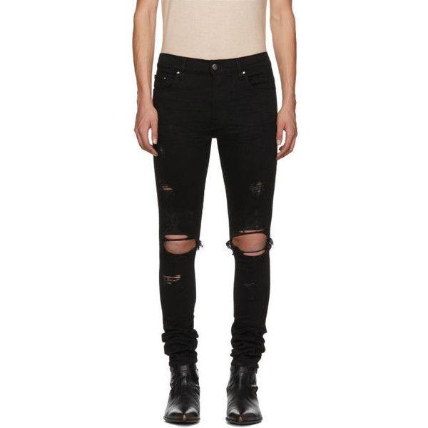 Amiri Black Thrasher Jeans ($695) ❤ liked on Polyvore featuring men's fashion, men's clothing, men's jeans, black, mens distressed skinny jeans, mens super skinny ripped jeans, mens skinny jeans, mens patched jeans and mens ripped skinny jeans