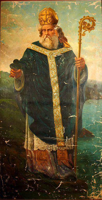 St. Patrick | http://www.saintnook.com/saints/patrickofireland |  Saint Patrick Oil Painting by Honate 3' x 6' antique appraisal | InstAppraisal