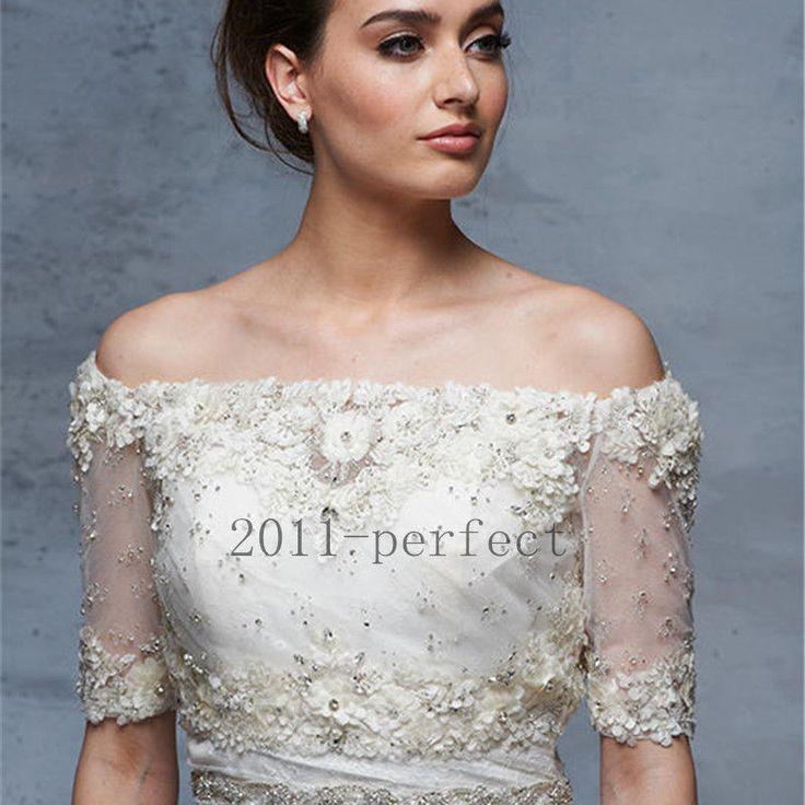 2017 Off Shoulder Wedding Boleros Custom Made Half Sleeves Bridal Wraps Jackets