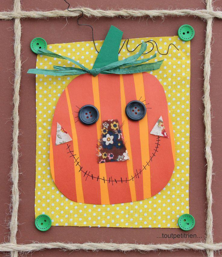 Cadre #citrouille #bricolage #automne #enfants en papier/tissus, fil de fer, raphia vert et boutons. www.toutpetitrien.ch/bricos/ - fleurysylvie