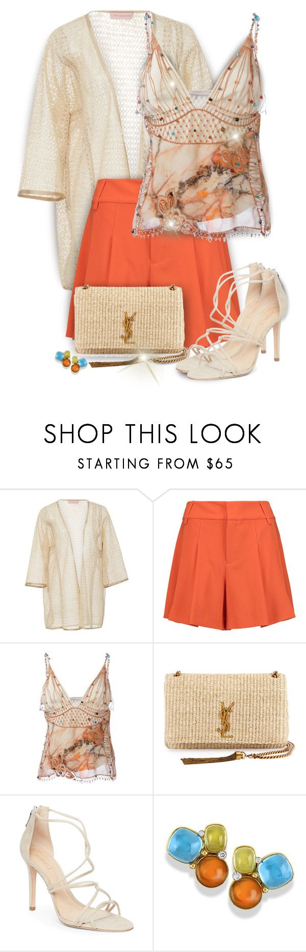 """""""Beaded Top"""" by kiki-bi ❤ liked on Polyvore featuring Anna Sammarone, Alice + Olivia, Christopher Kane, Yves Saint Laurent, Schutz, Clutch, shorts, sandals and beadedtop"""