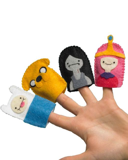 Adventure Time Finger Puppets from the book 'Adventure Time Crafts' - FREE PRINTABLE TEMPLATE #sweetpaul #AdventureTime