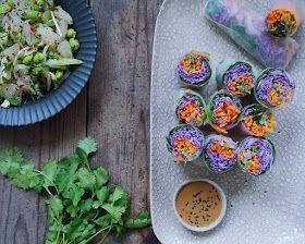 Vanløse blues.....: Friske forårsruller med rødspidskål, miso dip & pomelosalat
