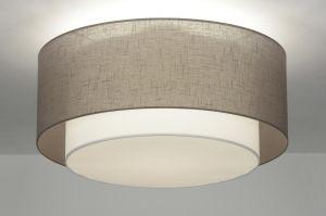 plafondlamp 87180: modern, retro, metaal, stof, taupe, rond ...