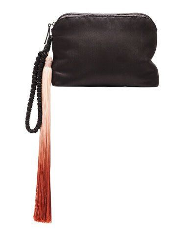 THE ROW SATIN TASSEL DETAIL WRISTLET, BLACK/PAPRIKA.