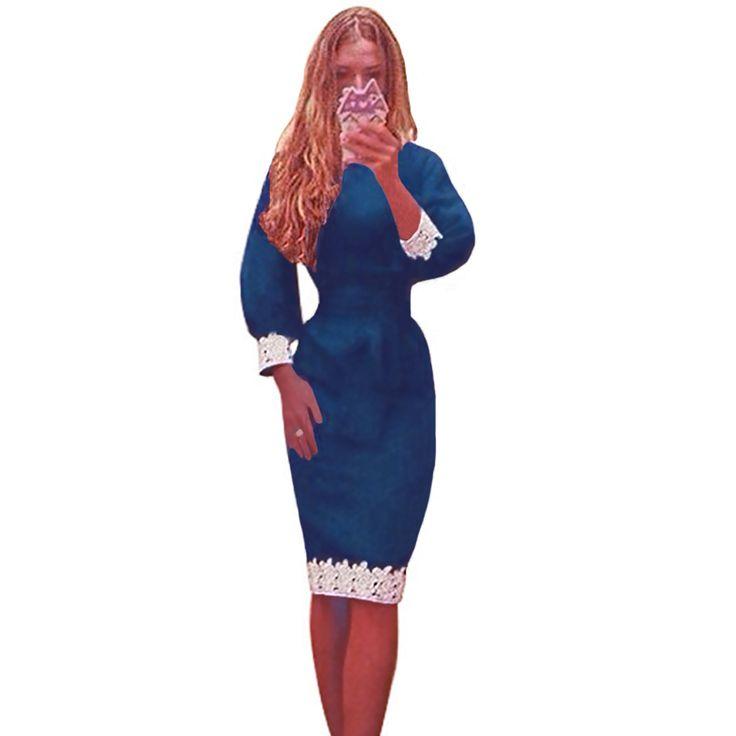 Новинка зимы женщин платье фонарь рукава кружева лоскутная колен   платье карандаша элегантный офис платье Vestidos королевский синийкупить в магазине Moda HomeнаAliExpress