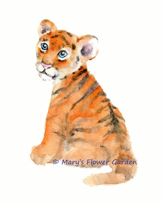 Tiger art print tiger wall art kids room by Marysflowergarden