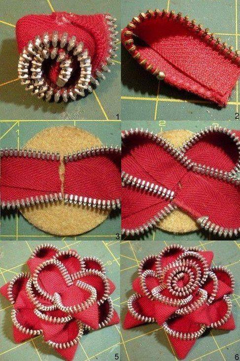 Zipper Flower Embellishments – DIY                                                                                                                                                                                 More