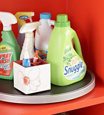lazy susan for laundry supplies
