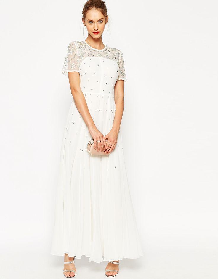 Imagen 2 de Vestido largo estilo camiseta con espalda abierta y detalles de cristal de ASOS