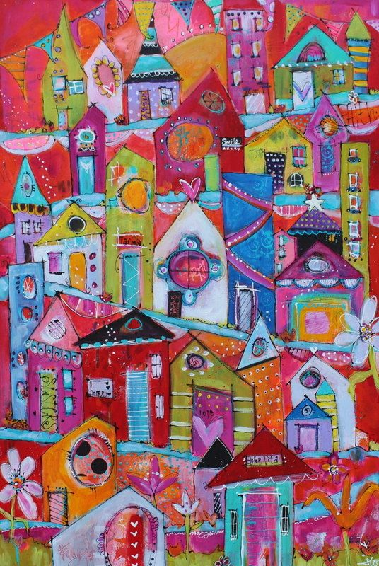 An example of a special order recently finished for a large  Funky City Scape  whimsical house creation.  If you'd like your own custom house painting, be sure to leave a comment and let's chat!  Reserved Listing Custom Painting Funky Houses final by JodiOhl