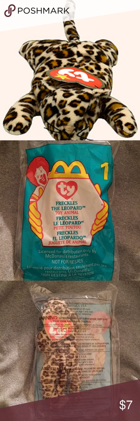 McDonald's + TY // beanie baby // #1 freckles McDonald's + TY Beanie Baby 1999 collection  #1 Freckles the Leopard  Rare!!!!! Nostalgic  In original packaging. Never opened.  The 1999 Happy Meal promotion at McDonalds ran from May 21 through June 17. The Teenie Beanie Babies were individually packaged in small plastic bags and given to customers who purchased a Happy Meal or other food item. There were 12 different Teenie Beanie Baby animals in the first phase of the promotion that ran from…
