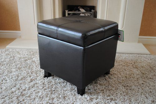 Dark Brown Genuine Real Leather Storage Footstool Pouffe NEW