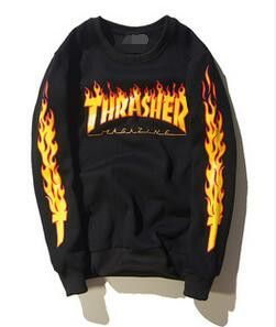 Thrasher skate tshirt x New Brand Men T-shirt Hip Hop Clothing Brand Suprem T-Shirts skateboard hip hop Flame THRASHER T Shirt