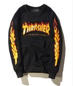 Thrasher skate tshirt x New Brand Men T-shirt Hip Hop Clothing Brand Suprem T-Shirts skateboard hip hop Flame THRASHER T Shirt