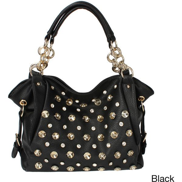 Oasis Handbag 'Tori' Studded Shoulder Hobo Bag (£36) ❤ liked on Polyvore featuring bags, handbags, shoulder bags, black, leather shoulder bag, leather handbags, black leather shoulder handbags, leather hobo shoulder bag and black shoulder bag