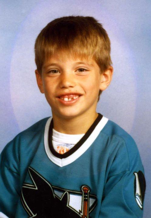 Brent Burns at age five wearing a San Jose Sharks shirt. #NHL #Hockey