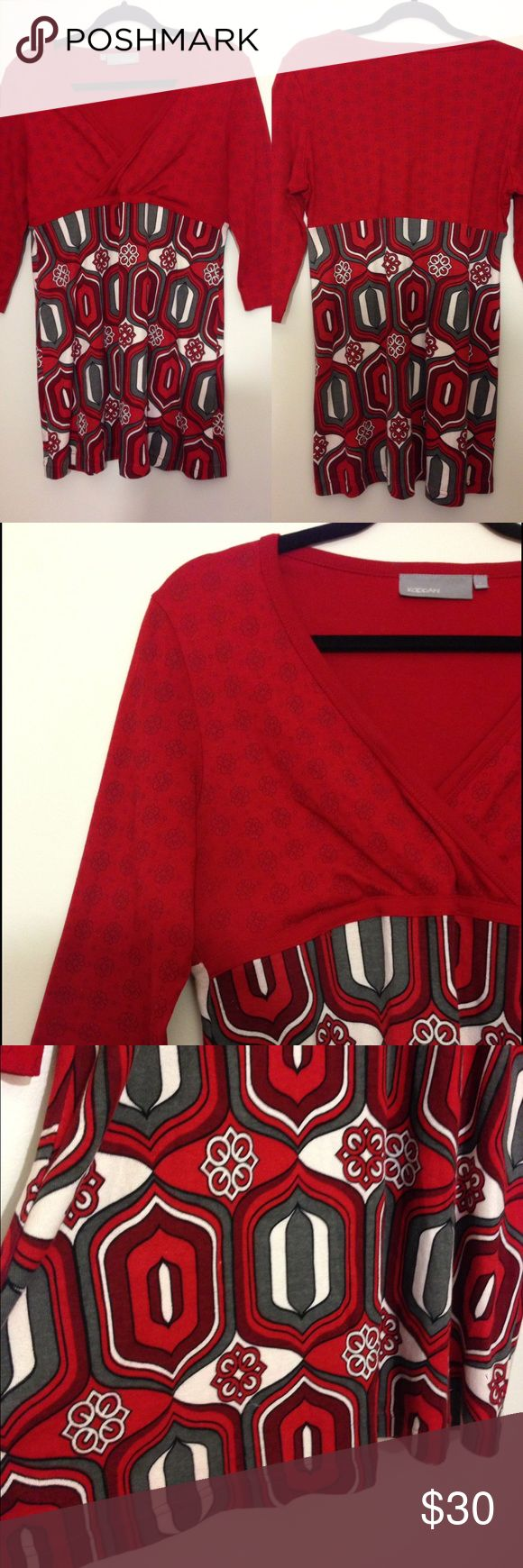 Tunic Dress Gorgeous red jersey tunic dress with two different yet complementing designs. 3 quarter sleeves perfect for spring! Only worn a handful of times before I couldn't fit anymore 😭 European size 44/46. I'm guessing that's between Large/XL USA size. Smoke and pet free home! kappahl Tops Tunics