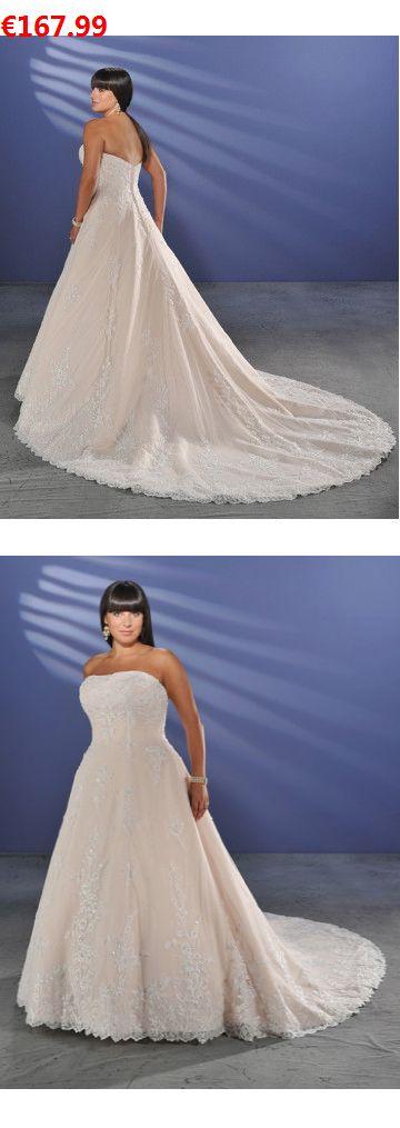 A-Linie aus Tüll Trägerloser Ausschnitt Kapelle-Schleppe Reißverschluss Champagner Extravagante Brautkleider für Mollige