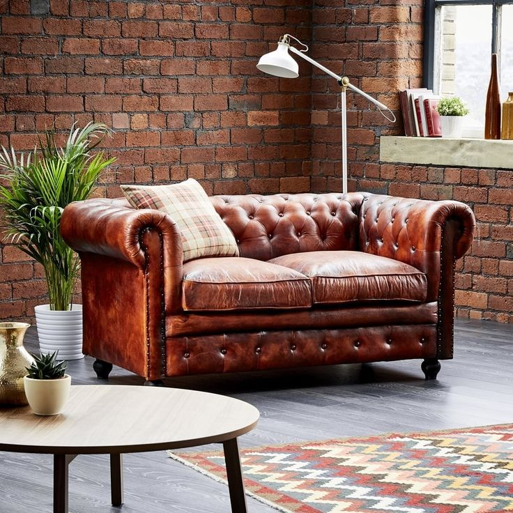Wallace Sacks Leather Chesterfield 2 Seater Sofa Shelves