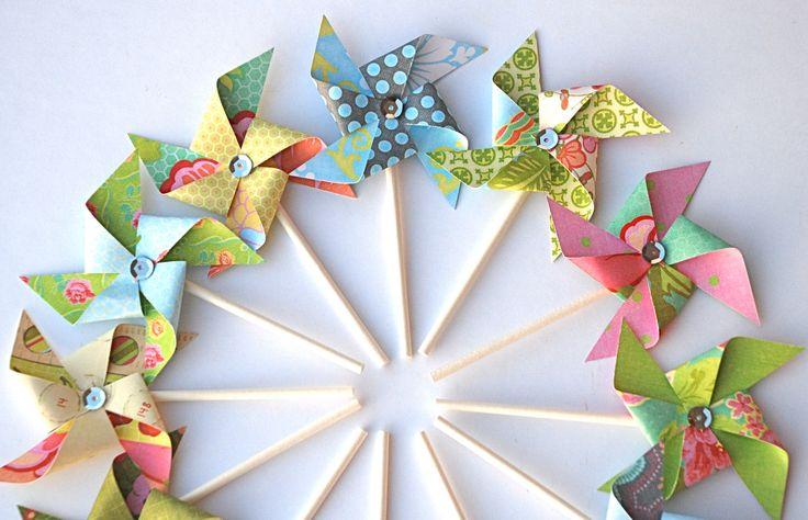 Pinwheel Cupcake Toppers Rtnow 30pcs Lovely Mini Windmill